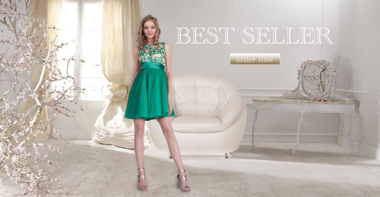 Wholesale womem clothing green dresses